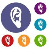 Geplaatste oorpictogrammen stock illustratie
