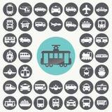 Geplaatste openbaar vervoerpictogrammen Stock Foto's