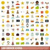 100 geplaatste ordepictogrammen, vlakke stijl Royalty-vrije Stock Fotografie