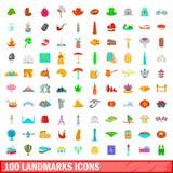 100 geplaatste oriëntatiepuntenpictogrammen, beeldverhaalstijl Stock Afbeeldingen