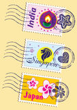 Geplaatste oriëntatiepuntenzegels Stock Fotografie