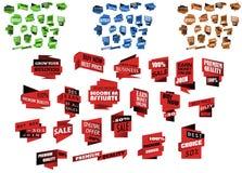 Geplaatste origamibanners en malplaatjes Stock Foto