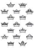 Geplaatste Ornated heraldische kronen Royalty-vrije Stock Afbeeldingen