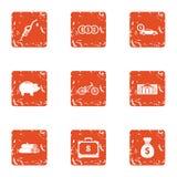 Geplaatste overschrijvings uitgezochte pictogrammen, grunge stijl Stock Afbeeldingen