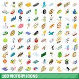 100 geplaatste overwinningspictogrammen, isometrische 3d stijl Stock Foto