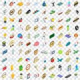 100 geplaatste overwinningspictogrammen, isometrische 3d stijl Royalty-vrije Stock Foto
