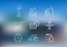 Geplaatste overzichts industriële pictogrammen Stock Afbeelding