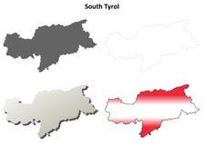 Geplaatste overzichtskaart het Zuid- van Tirol - Oostenrijkse versie Royalty-vrije Stock Foto's