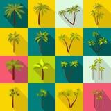 Geplaatste palmpictogrammen, vlakke stijl Royalty-vrije Stock Afbeeldingen