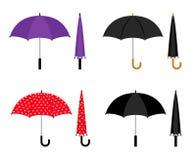 Geplaatste paraplu's kleurrijke pictogrammen vector illustratie