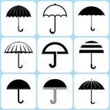 Geplaatste paraplupictogrammen Royalty-vrije Illustratie