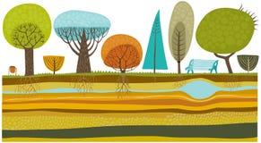 Geplaatste parkbomen Stock Afbeeldingen