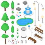Geplaatste parkelementen royalty-vrije illustratie
