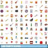 100 geplaatste partijpictogrammen, beeldverhaalstijl Royalty-vrije Stock Afbeelding