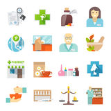 Geplaatste Pharmacicst vlakke pictogrammen Stock Foto's