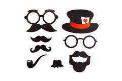 Geplaatste Photoboothverjaardag en Partij - glazen, hoeden vector illustratie