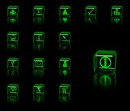 Geplaatste pictogrammen Stock Fotografie