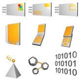 Geplaatste Pictogrammen de telecommunicatie Mobiele van de Industrie   royalty-vrije illustratie