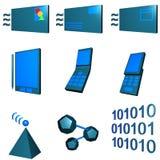 Geplaatste Pictogrammen de telecommunicatie Mobiele van de Industrie - Gre vector illustratie