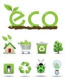 Geplaatste pictogrammen ECO Royalty-vrije Stock Foto's