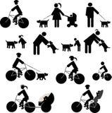 Geplaatste pictogrammen redsport en honden Stock Foto's