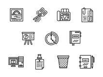 Geplaatste pictogrammen van de bureau de zwarte lijn Royalty-vrije Stock Afbeelding