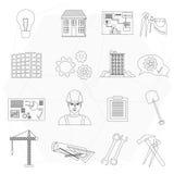 Geplaatste pictogrammen van de de bouw de dunne lijn van de bouwersarbeider Royalty-vrije Stock Afbeelding