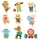 Geplaatste pictogrammen van de de sportspeler van het beeldverhaal de dierlijke Royalty-vrije Stock Afbeelding