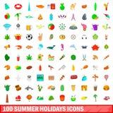 100 geplaatste pictogrammen van de de zomervakantie, beeldverhaalstijl Stock Foto