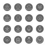 Geplaatste pictogrammen van de download de dunne lijn royalty-vrije illustratie