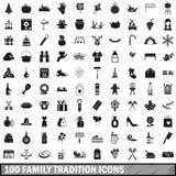 100 geplaatste pictogrammen van de familietraditie, eenvoudige stijl Stock Foto's