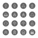 Geplaatste pictogrammen van de het teken de dunne lijn van het pijlontwerp Stock Foto's