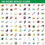 100 geplaatste pictogrammen van de het werkruimte, beeldverhaalstijl Royalty-vrije Stock Afbeelding