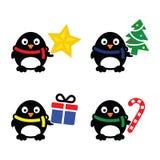 Geplaatste pictogrammen van de Kerstmis de leuke pinguïn Royalty-vrije Stock Afbeelding
