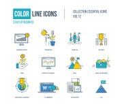 Geplaatste pictogrammen van de kleuren de dunne Lijn Royalty-vrije Stock Afbeeldingen
