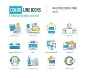Geplaatste pictogrammen van de kleuren de dunne Lijn Stock Afbeeldingen