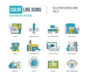 Geplaatste pictogrammen van de kleuren de dunne Lijn Basisonderwijs, terug naar school Stock Afbeelding
