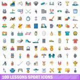 100 geplaatste pictogrammen van de lessensport, beeldverhaalstijl Royalty-vrije Stock Afbeelding