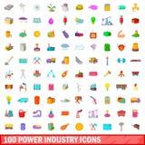 100 geplaatste pictogrammen van de machtsindustrie, beeldverhaalstijl Royalty-vrije Stock Foto
