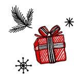 Geplaatste pictogrammen van de nieuwjaar de hand getrokken krabbel Tak, sneeuwvlokken, heden royalty-vrije stock afbeelding