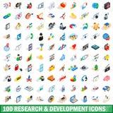 100 geplaatste pictogrammen van de onderzoekontwikkeling Stock Foto