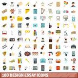 100 geplaatste pictogrammen van de ontwerppoging, vlakke stijl stock illustratie