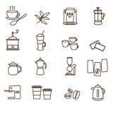 Geplaatste pictogrammen van de overzichts de bruine eenvoudige koffie Stock Afbeeldingen