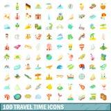 100 geplaatste pictogrammen van de reistijd, beeldverhaalstijl Royalty-vrije Stock Afbeeldingen
