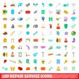 100 geplaatste pictogrammen van de reparatiedienst, beeldverhaalstijl Stock Foto