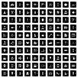 100 geplaatste pictogrammen van de schoonheidssalon, grunge stijl Royalty-vrije Stock Foto's