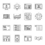 Geplaatste pictogrammen van de technologie en de bedrijfs dunne lijn Symbolen voor beheer, financiën, computers en Internet royalty-vrije illustratie