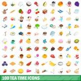 100 geplaatste pictogrammen van de theetijd, isometrische 3d stijl Stock Foto