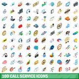 100 geplaatste pictogrammen van de vraagdienst, isometrische 3d stijl Stock Afbeeldingen