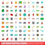 100 geplaatste pictogrammen van de wegreparatie, beeldverhaalstijl Royalty-vrije Stock Afbeelding